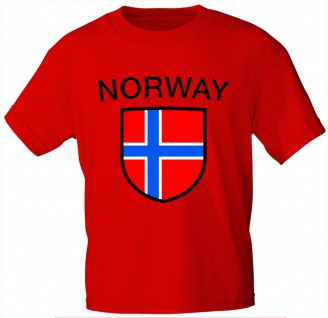 T-Shirt mit Print - Wappen Fahne Flagge Norway Norwegen - 76423 rot Gr. S