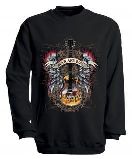 Sweatshirt mit Print - Rock´n Roll - S10242 - versch. farben zur Wahl - Gr. schwarz / M