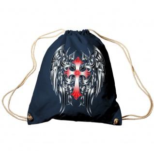 Trend-Bag Turnbeutel Sporttasche Rucksack mit Print- rotes Kreuz mit schwarzen Flügeln- TB65313 Navy