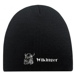 Beanie-Mütze mit Einstickung - WIKINGER - 55610 - Wollmütze Wintermütze Strickmütze