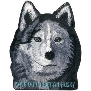 Aufnäher - Husky Kopf - 02018 - Gr. ca. 8 x 14 cm - Patches Stick Applikation