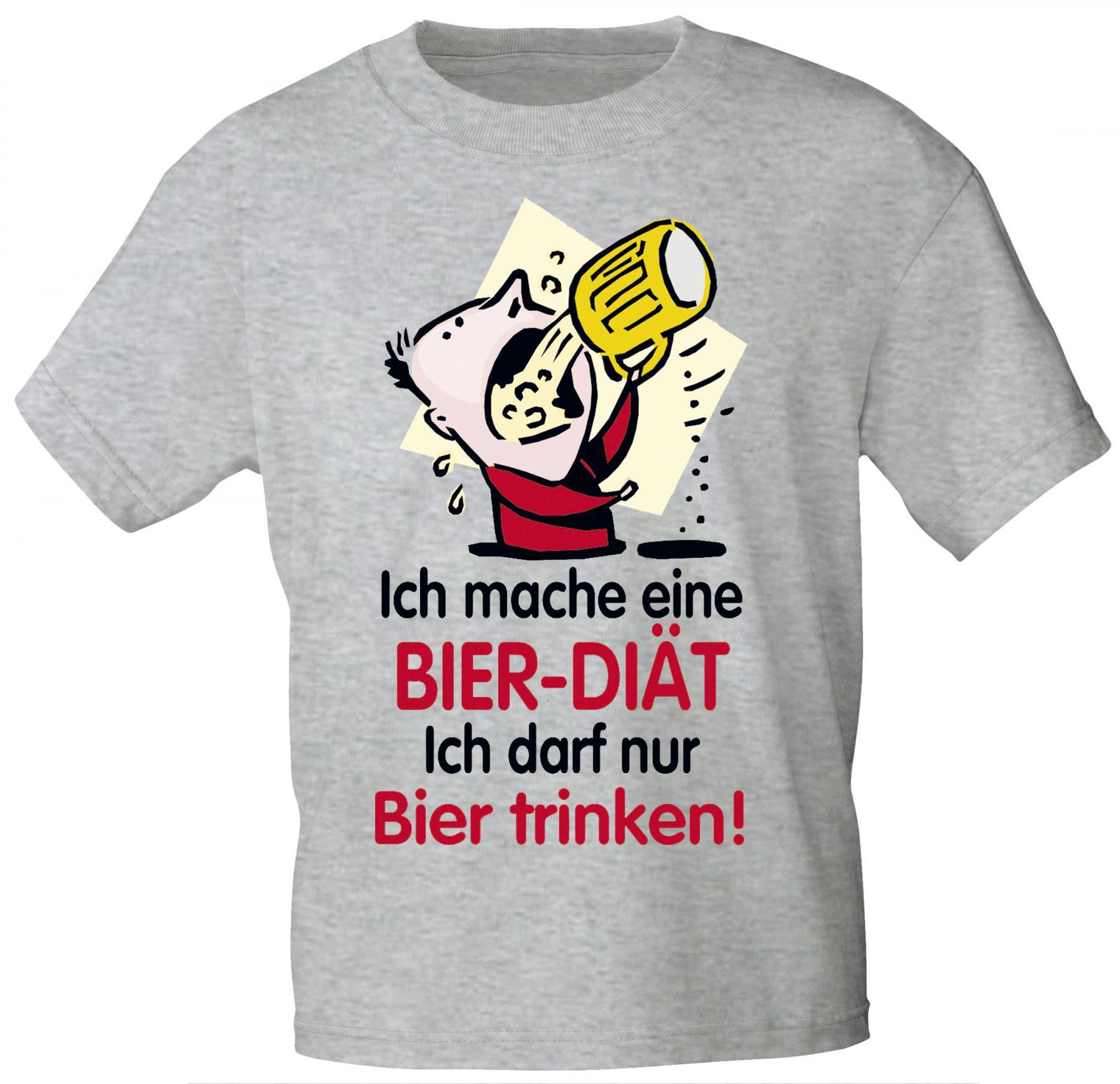 T Shirt Unisex Mit Print Ich Mache Eine Bier Diat 09415 Hellgrau