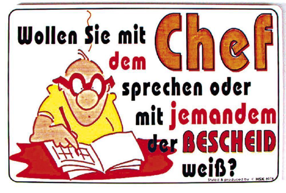 """PST-SCHILD Spass-Schild /""""Wollen Sie mit dem Chef sprechen oder.../"""" NEU 308978"""