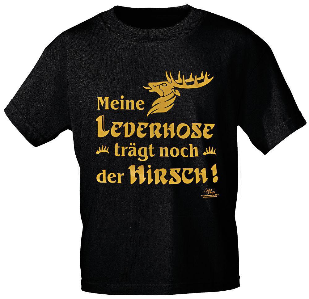 762a4c76981d42 T-Shirt mit Print - Meine Lederhose trägt noch der Hirsch - 10754 schwarz  ...