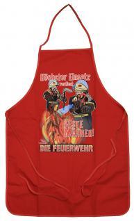 Grillschürze Kochschürze mit Print - Feuerwehr Höchster Einsatz... - 12570 rot