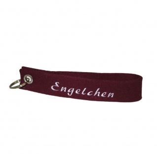 Filz-Schlüsselanhänger mit Stick Engelchen Gr. ca. 17x3cm 14407 bordeaux