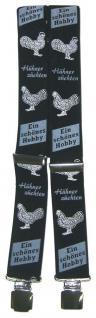 Hosenträger mit Print - Hühner züchten ein schönes Hobby - 06804 schwarz