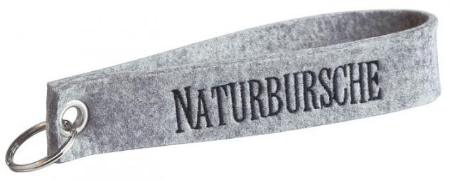 Filz-Schlüsselanhänger mit Stick Naturbursche Gr. ca. 17x3cm 14076 hellgrau