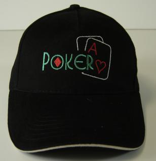 Baseballcap mit großer Bestickung - Poker Card Karte Herz As - 68432 schwarz - Baumwollcap Hut Schirmmütze Cappy Cap