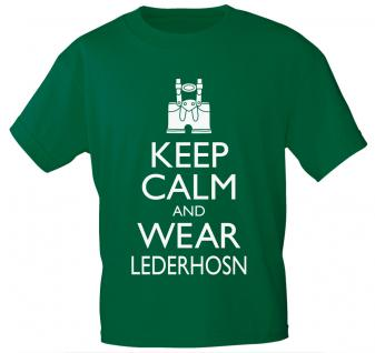 T-Shirt mit Print - Keep calm and wear Lederhosen - 12907 - versch. Farben zur Wahl - schwarz / L