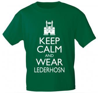 T-Shirt mit Print - Keep calm and wear Lederhosen - 12907 - versch. Farben zur Wahl - schwarz / XXL