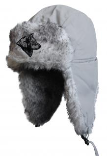 Chapka Fliegermütze Pilotenmütze Fellmütze in grau mit 28 verschiedenen Emblemen 60015 Wolfkopf