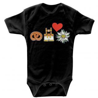 (12732) Baby-Body mit Lederhosn, Brezn, Edelweiß und Herz in 3 Farben und 3 Größen schwarz / 6-12 Monate - Vorschau 1