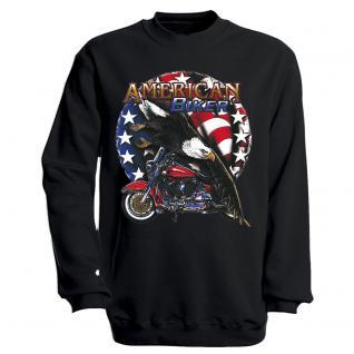 """Sweat- Shirt mit Motivdruck in 7 Farben """" Amercan Biker"""" S12662 schwarz / XXL"""