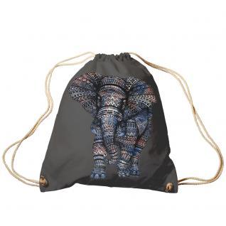 Trend-Bag Turnbeutel Sporttasche Rucksack mit Print - Elefant - TB12991 anthrazitgrau