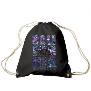 Trend-Bag Turnbeutel mit Glitzer-Strass-Veredelung - California - TB12896 schwarz