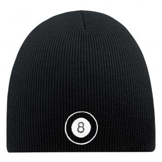 Beanie-Mütze mit Einstickung - BILLARD - Wollmütze Wintermütze Strickmütze - 54815 schwarz