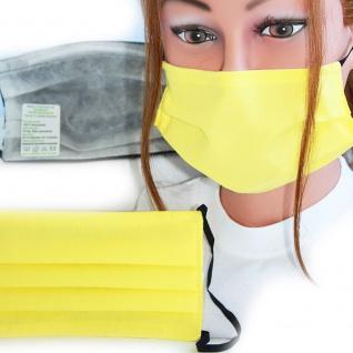 Textil Design-Maske waschbar aus Baumwolle - Unifarben mit Wunschname Zitronengelb + Gratiszugabe