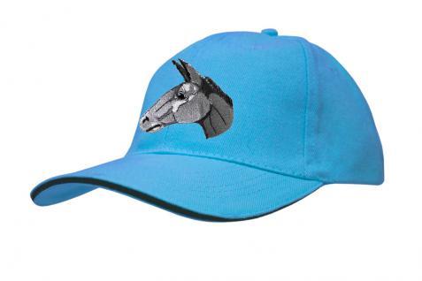 Cap mit gr. Esel - Stick - Eselskopf - 69251-2 türkis - Baumwollcap Baseballcap Hut Cappy Schirmmütze