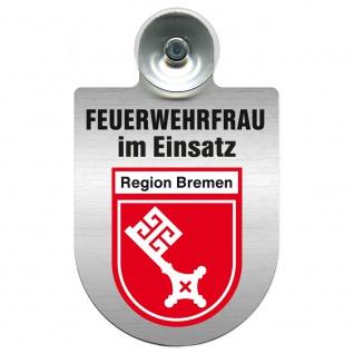Einsatzschild Windschutzscheibe incl. Saugnapf - Feuerwehrfrau im Einsatz - 309473 Region Bremen