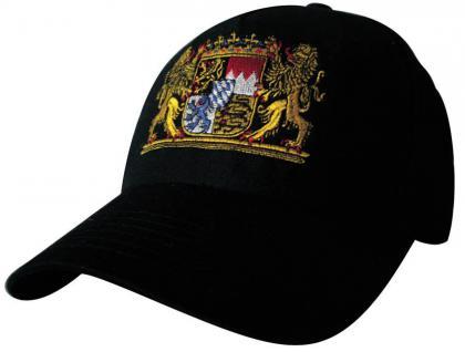 Cap mit Bayern - Stick - Wappen Bayern - 68082-2 schwarz - Baumwollcap Baseballcap Hut Cappy Schirmmütze