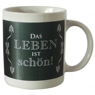 Tasse mit Print Das Leben ist Schön 57511 weiss
