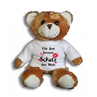 Teddybär mit T-Shirt - für den besten Schatz der Welt Gr. ca. 26 cm - 27002 dunkelbraun