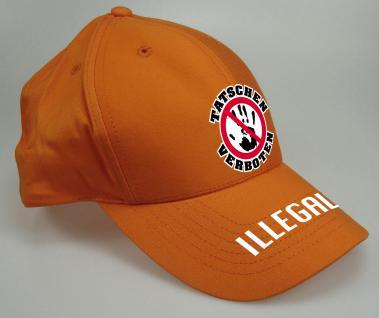 Kappe-Schirmmütze mit lustigem Verbots-Stick - tatschen Verboen Illegal - 52466 orange - Baumwollcap Baseballcap Hut Cap Cappy