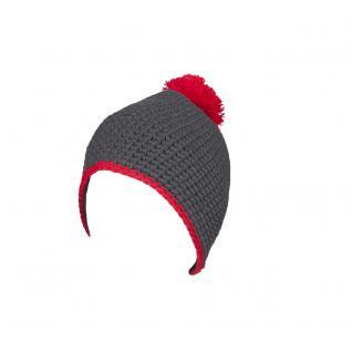 Häkelmütze m. Bommel - 41666 - Schwarz-Rot - Pudelmütze Bommelmütze Häkel-Mütze