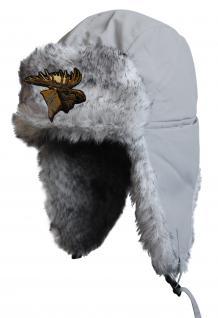 Chapka Fliegermütze Pilotenmütze Fellmütze in grau mit 28 verschiedenen Emblemen 60015 Elch