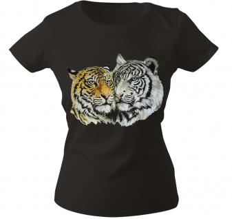 Girly-Shirt mit Print - Tiger - 10848 - versch. farben zur Wahl - schwarz / M