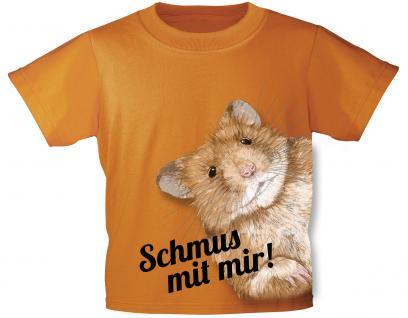 Kinder T-Shirt mit Print - Hamster - Schmus mit mir - 10930 - orange - Gr. 110/116