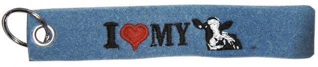 Filz-Schlüsselanhänger mit Stick I love my Cow Gr. ca. 17x3cm 14091 blau