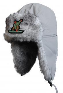 Chapka Fliegermütze Pilotenmütze Fellmütze in grau mit 28 verschiedenen Emblemen 60015 Snowboarder