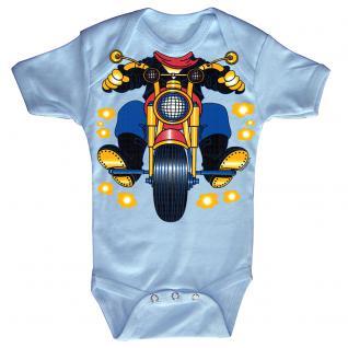 Baby-Body mit Druckmotiv Motorrad in 4 Farben und 4 Größen B12780 hellblau / 0-6 Monate