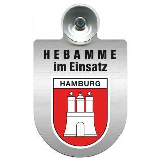 Einsatzschild Windschutzscheibe incl. Saugnapf -Hebamme im Einsatz - 309357-15 - Region Hamburg