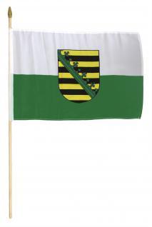 Schwenk-Fahne - SACHSEN - Gr. ca. 40 x 30cm - 07615 - Fahne mit Holzstab Flagge