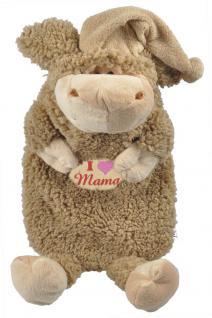 Wärmflasche Wollschäfchen mit Einstickung ? I love Mama - 39304 braun