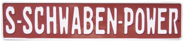 Alu-Schild - S-Schwaben Power - 07506 - Gr. ca. 52 x 11 cm