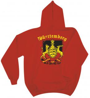 Kapuzen-Sweater unisex mit Print - Württemberg Wappen - 09025 rot - Gr. XXL