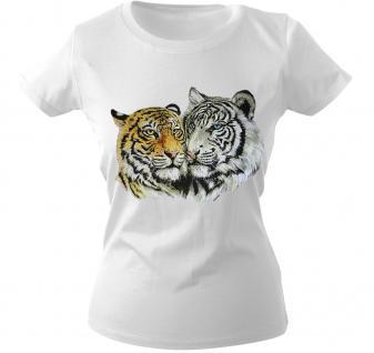 Girly-Shirt mit Print - Tiger - 10848 - versch. farben zur Wahl - weiß / L