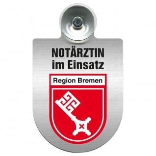 Einsatzschild Windschutzscheibe incl. Saugnapf - Notärztin im Einsatz - 393827 - Region Bremen