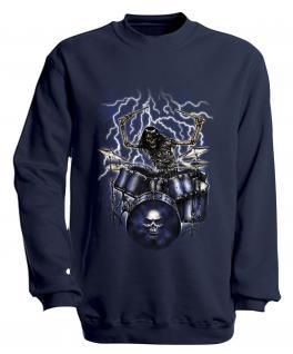 Sweatshirt mit Print - Drummer - S10244 - versch. farben zur Wahl - Gr. Navy / M