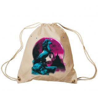 Trend-Bag Turnbeutel Sporttasche Rucksack mit Print - Einhorn bei Mondschein - TB12665 natur
