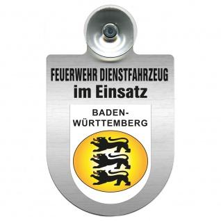 Einsatzschild Windschutzscheibe incl. Saugnapf - Feuerwehr Dienstfahrzeug im Einsatz - 393801 - incl. Regionen nach Wahl Region Baden-Württemberg