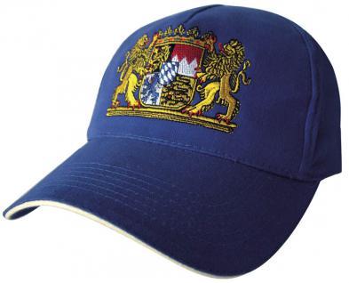 Cap mit Bayern - Stick - Wappen Bayern - 68082-1 blau o. schwarz - Baumwollcap Baseballcap Hut Cappy Schirmmütze