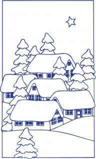"""Wandtattoo/ Dekorfolie mit Motiv """" Winter-Dorf"""" Ø 90cm Länge max.100 cm, in 11 Farben WD0808 blau"""