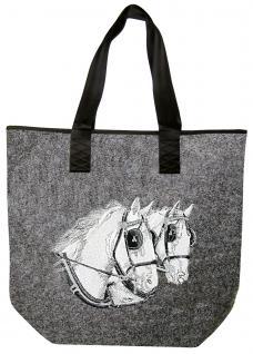 """Filztasche mit schönem Stickmotiv """" 2 Pferdeköpfe"""" NEU (26108) Umhängetasche Bag Shopper Henkeltasche Tasche"""