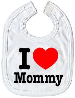 Baby-Lätzchen mit Druckmotiv -I love Mommy - 07045 - weiss