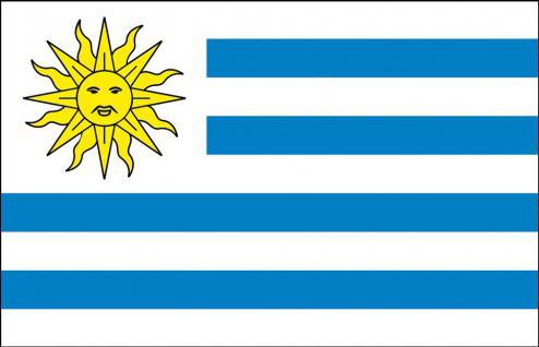 Länder-Flagge - Uruguay - Gr. ca. 40x30cm - 77179 - Stockländerfahne, Schwenkfahne mit Holzstock
